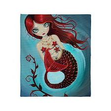 Ruby mermaid Throw Blanket