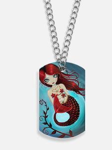 Ruby mermaid Dog Tags