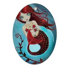 Ruby mermaid Oval Ornament