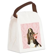 basset rose-charm Canvas Lunch Bag