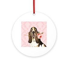 basset rose-charm Round Ornament