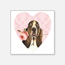 "basset rose-heart Square Sticker 3"" x 3"""