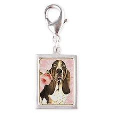 basset rose-oval key Silver Portrait Charm