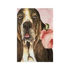 basset rose-key Rectangle Magnet