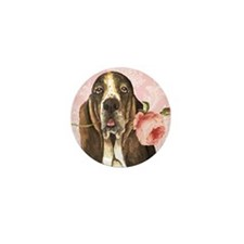 basset rose-oval charm Mini Button