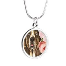 basset rose-oval charm Silver Round Necklace
