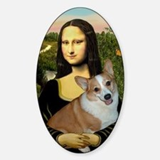 Poster-small-Mona-Corgi L Sticker (Oval)