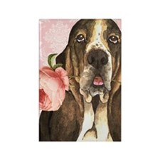 basset rose-key back Rectangle Magnet
