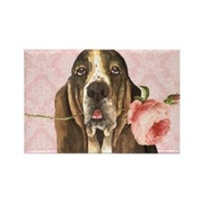 basset rose-beach Rectangle Magnet