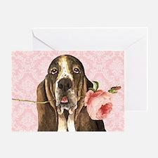 basset rose-beach Greeting Card