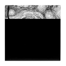 Starry Night - Black and White Monoch Tile Coaster