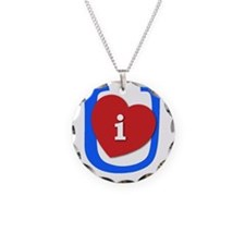 I Heart U White and Blue Necklace