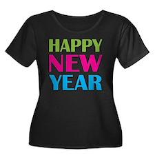 NEW YEAR Women's Plus Size Dark Scoop Neck T-Shirt