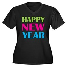 NEW YEAR Women's Plus Size Dark V-Neck T-Shirt