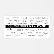 mug.theatre.languages.white Aluminum License Plate