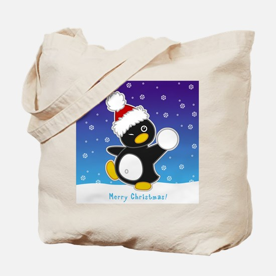 Snowball Penguin Tote Bag