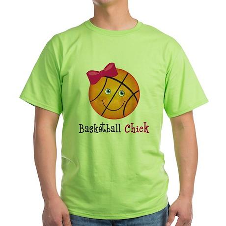 BasketballChick2 Green T-Shirt