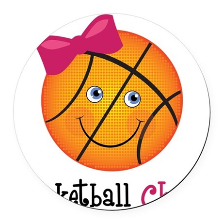 BasketballChick2 Round Car Magnet
