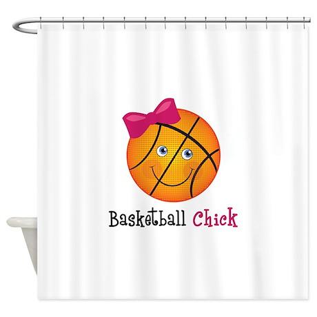 BasketballChick2 Shower Curtain