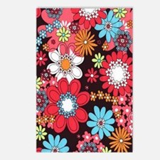 Funky Retro Flowers Postcards (Package of 8)