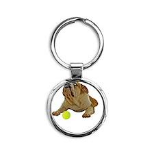 FIN-bulldog-lying-life-WonB Round Keychain