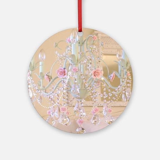 Shabby Chic Chandelier Round Ornament