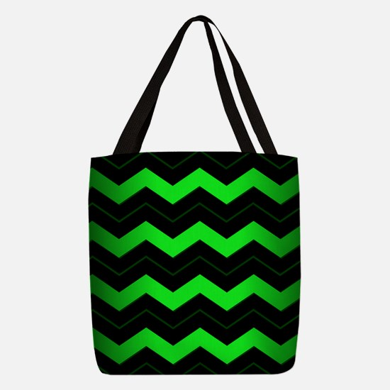 Green Chevron Polyester Tote Bag