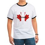 Canada Flag Maple Leaf Ringer T