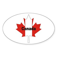 Canada Flag Maple Leaf Oval Decal