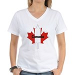 Canada Flag Maple Leaf Women's V-Neck T-Shirt