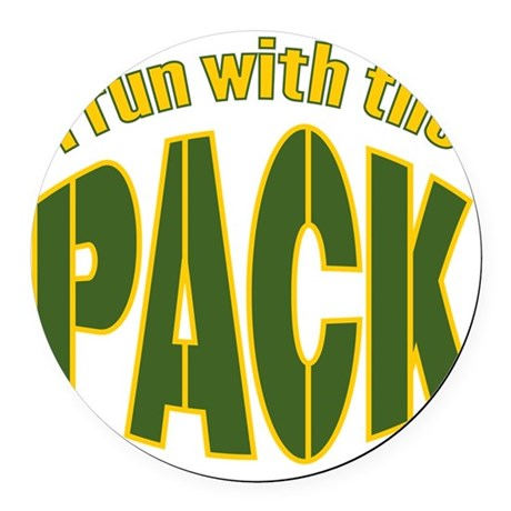 irun-with-the-pack2 Round Car Magnet