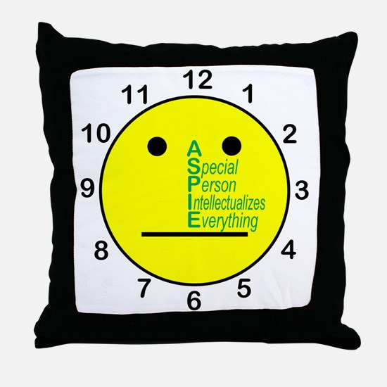 ASPIE_acronym_center_face_clock Throw Pillow
