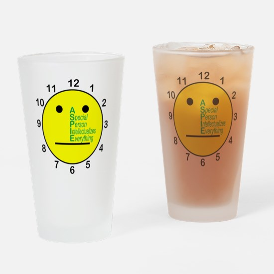 ASPIE_acronym_center_face_clock Drinking Glass