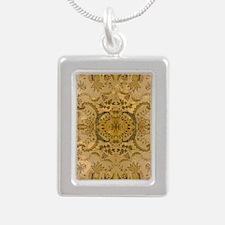 damask vintage Silver Portrait Necklace