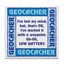Blue Geocacher Lost Mind Tile Coaster