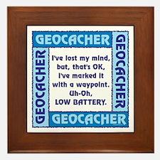 Blue Geocacher Lost Mind Framed Tile