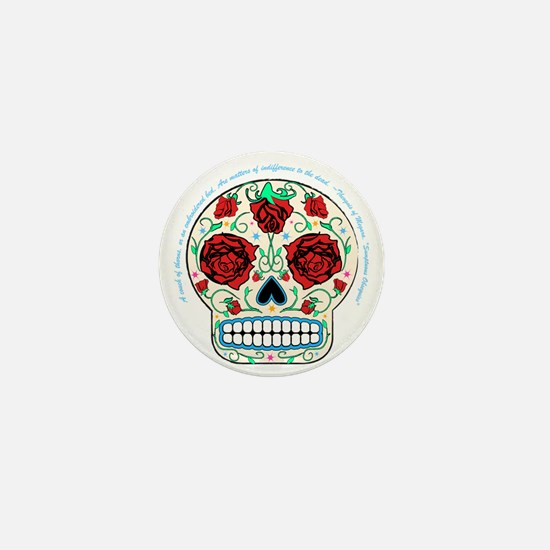 Day of the Dead Skull-Roses Mini Button