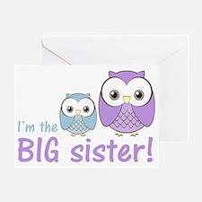 owlbigsispurpleblue Greeting Card