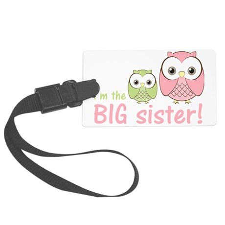 owlbigsispinkgreen Large Luggage Tag