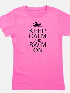 Keep Calm and Swim On Girl's Tee