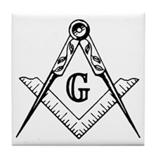 Square and Compasses Tile Coaster