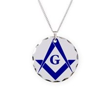 Blue Square and Compasses Necklace