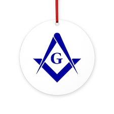 Blue Square and Compasses Round Ornament