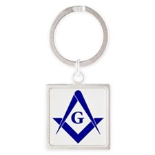 Blue Square and Compasses Square Keychain