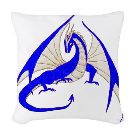 blue dragon Woven Throw Pillow