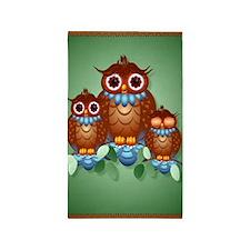 Large Poster Three Alert Little Owl 3'x5' Area Rug