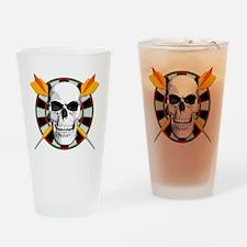Darts_skull_blk Drinking Glass