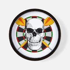 Darts_skull_blk Wall Clock