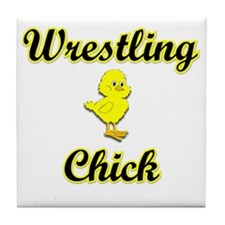 Wrestling Chick Tile Coaster