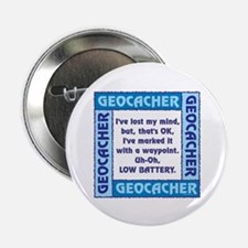 """Blue Geocacher Lost Mind 2.25"""" Button (100 pack)"""